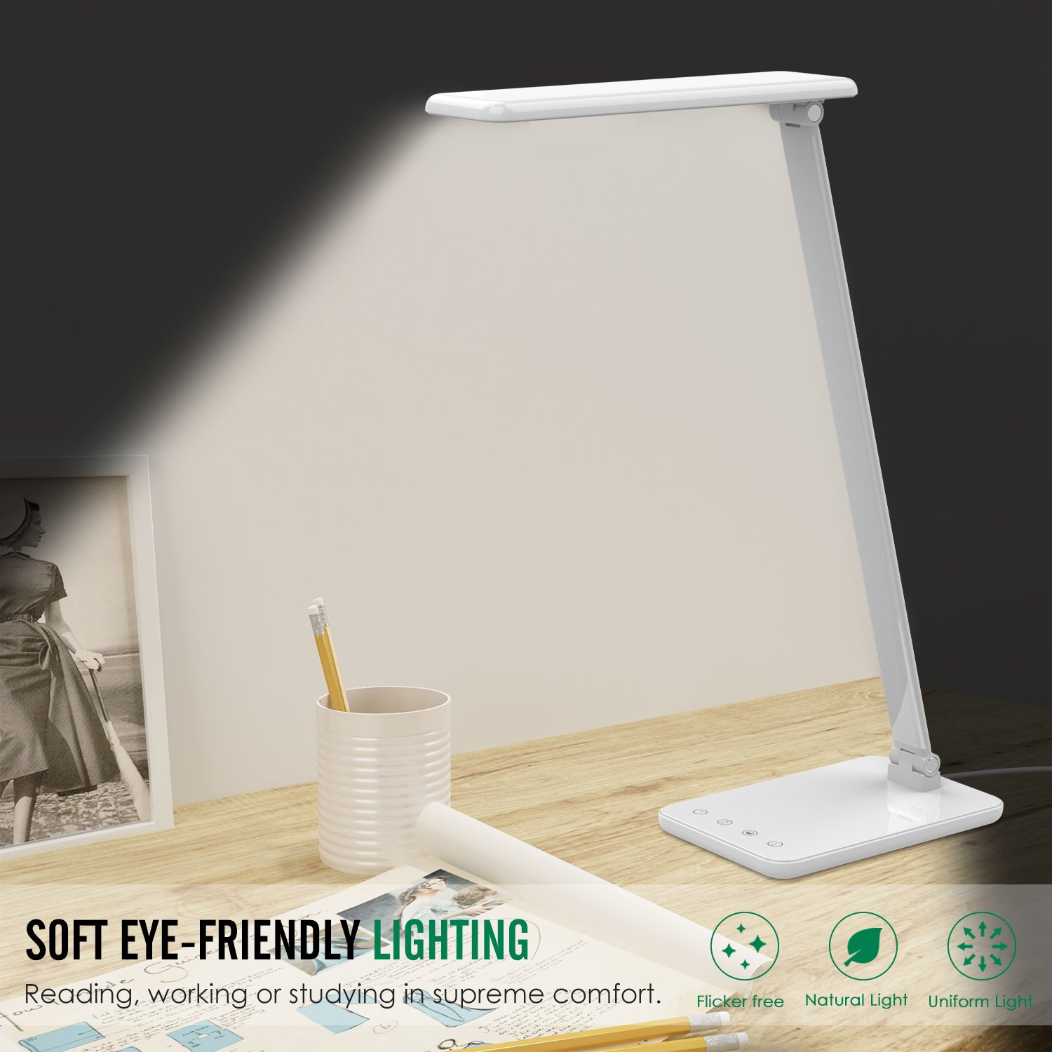 MoKo Dimmable LED Desk Lamp, 8W Touch-Sensitive Control Eye-Caring Working / Reading Table Lamp, Continuously Dimmable Brightness & Color Temperature, 1-Hour Auto Timer, Adjustable Arm & Head - WHITE by MoKo (Image #6)