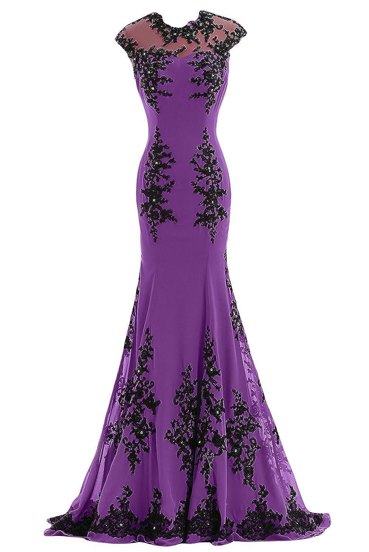 Poplarboy Women's Long Mermaid Beaded Evening Wedding Dress Applique Chiffon Formal Prom Bridesmaid Dress