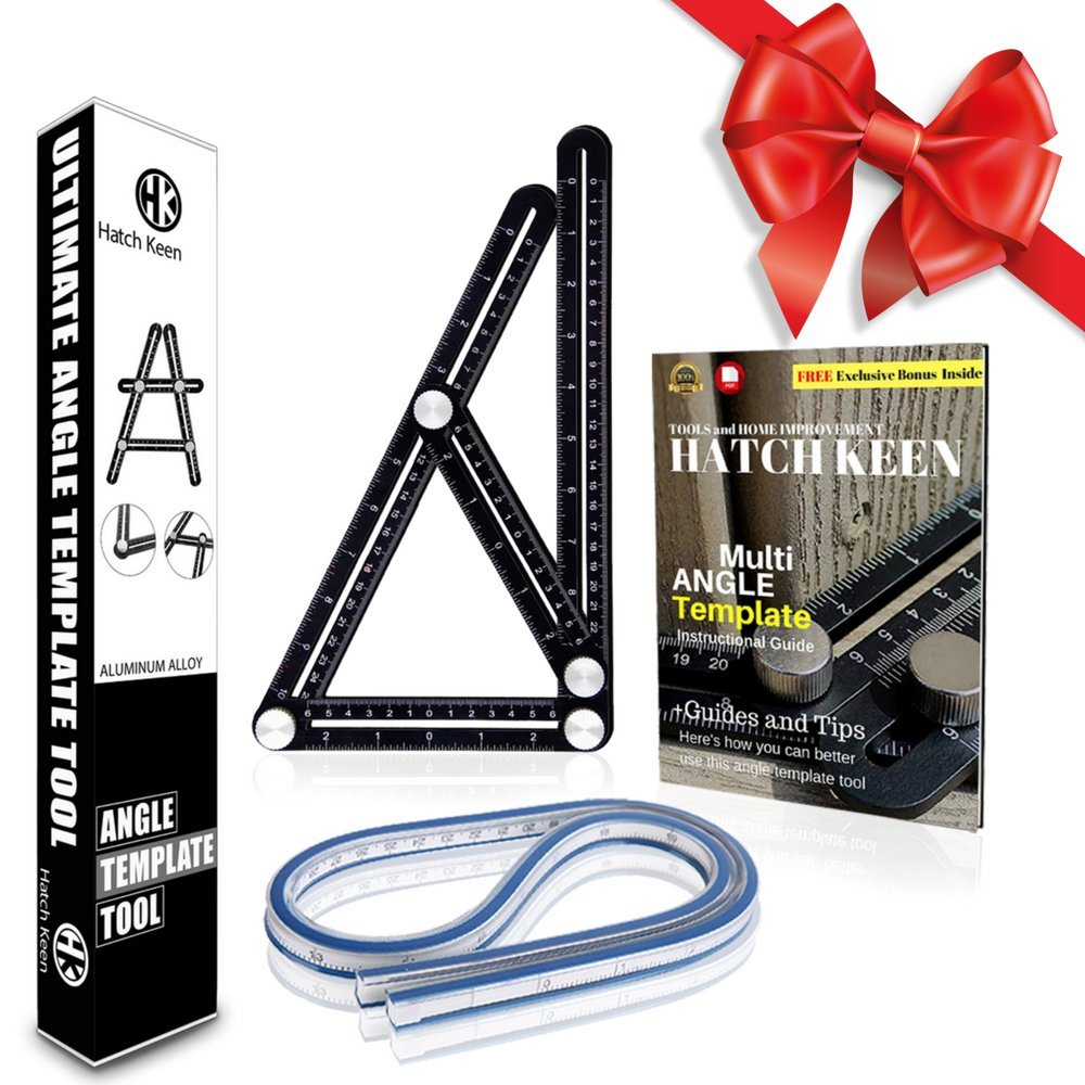 Premium Aluminum Alloy Angleizer Ruler | Layout Tool w/ 40cm. Flexible and Bendable Curve Template | Multi-Angle Finder Measuring Ruler | Best D.I.Y and Carpentry Gift Set with e-book