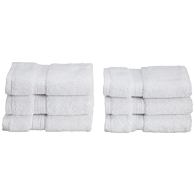 Superior 900 GSM Luxury Bathroom Face Towels, Made of 100% Premium Long-Staple Combed Cotton, Set of 6 Hotel & Spa Quality Washcloths - White, 13  x 13  each