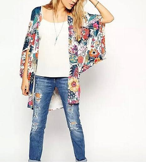 Women's Sheer Chiffon Blouse Loose Tops Kimono Floral Print