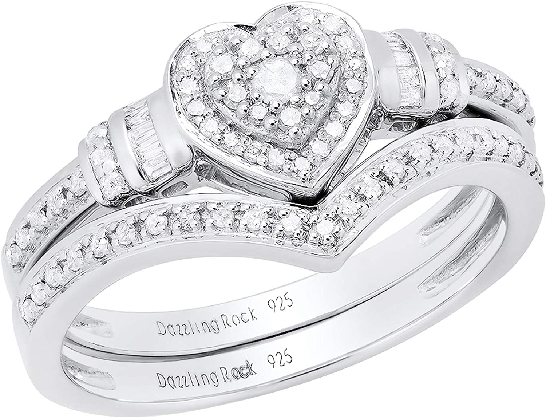 Dazzlingrock Collection 0.30 Carat (ctw) Round & Baguette Diamond Heart...