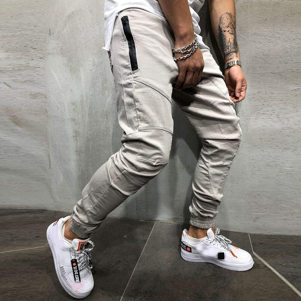 Caopixx Mens 2019 New Casual Loose Multi-Pocket Workwear Pants Stretch Drawstring Trousers