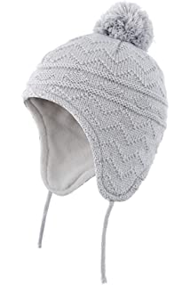Ruixia Kids Baby Earflap Beanie Hat Toddler Boys Girls Winter Warm Knit Bobble Cap with Chin Ties Fleece Lined Skull Cap Outdoor Windproof Ski Hats Soft Thermal Earmuffs Cap Fluffy Pompom Trapper Hat