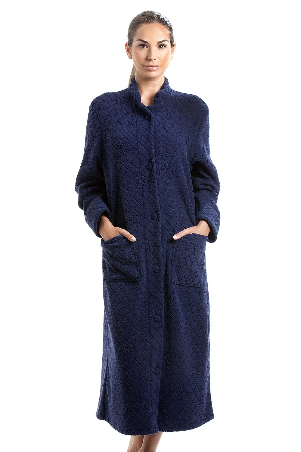 Camille Navy Soft Fleece Floral Full Length Button up Housecoat 8/10 Blue