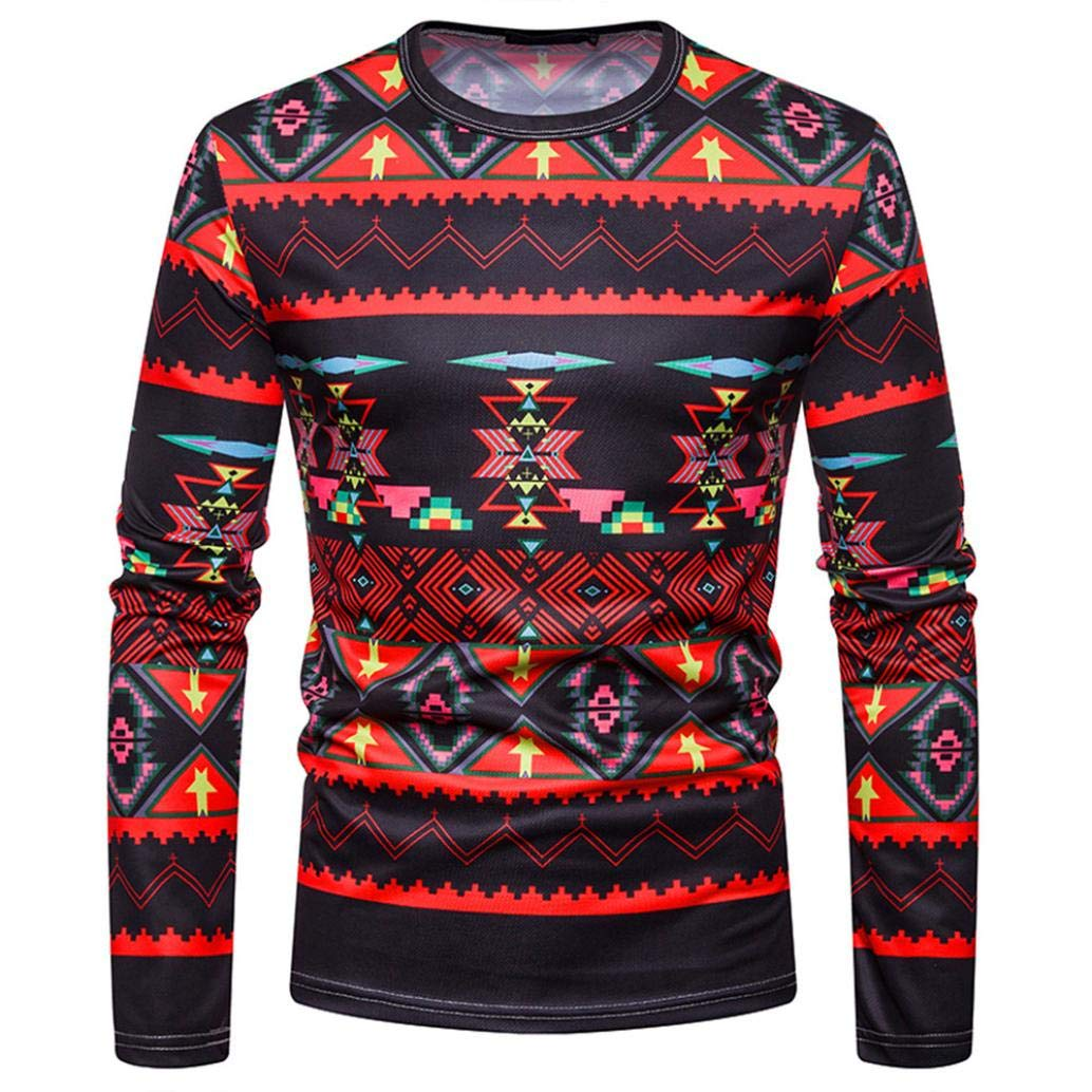 kaifongfu Tops for Men,African Print Crew Neck Long Sleeve Pullover Top Blouse(Black,XL)