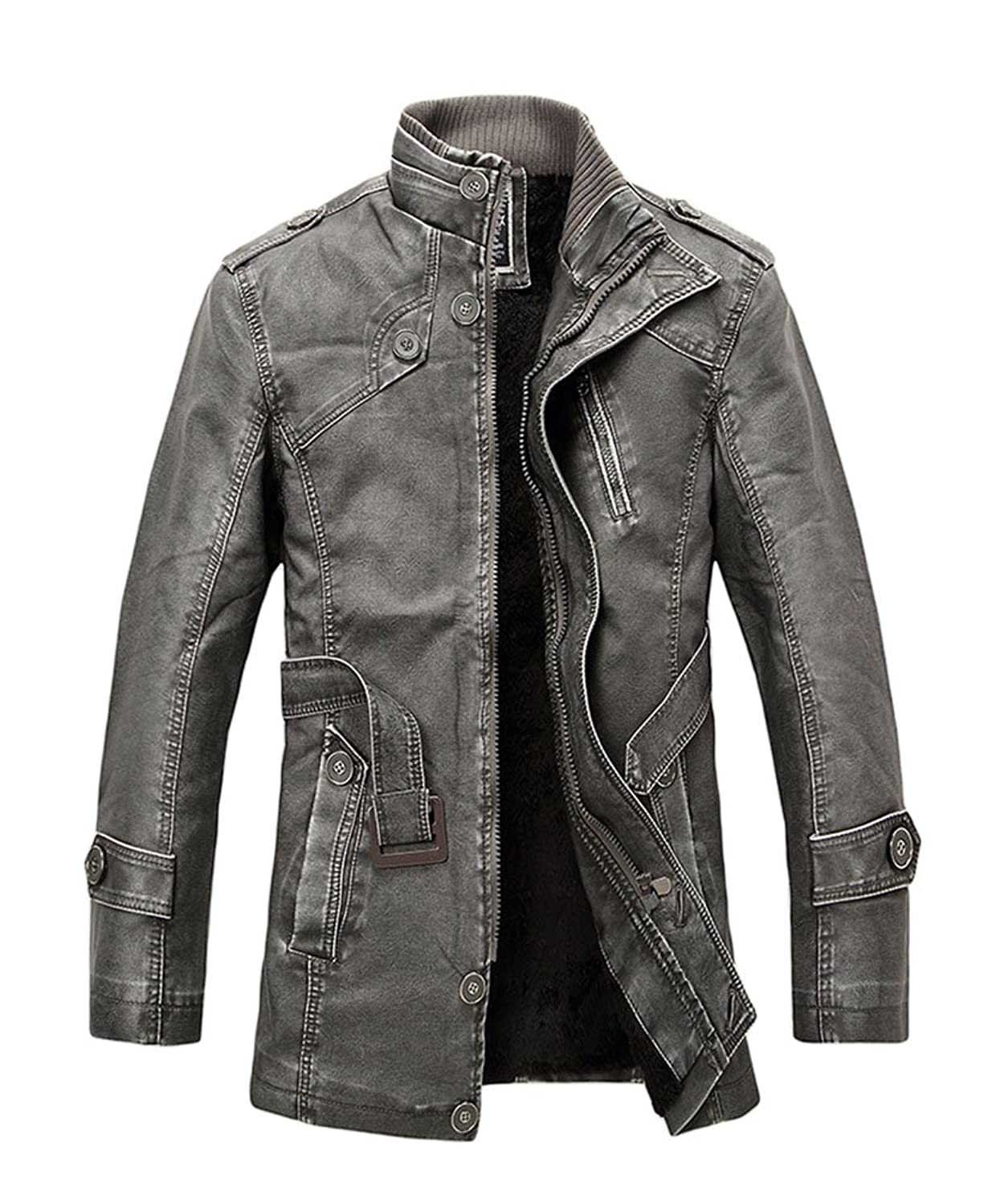 Baymate Men's Comfy Zipper Faux Leather Jacket Casual Stand Collar Outerwear Without Hood