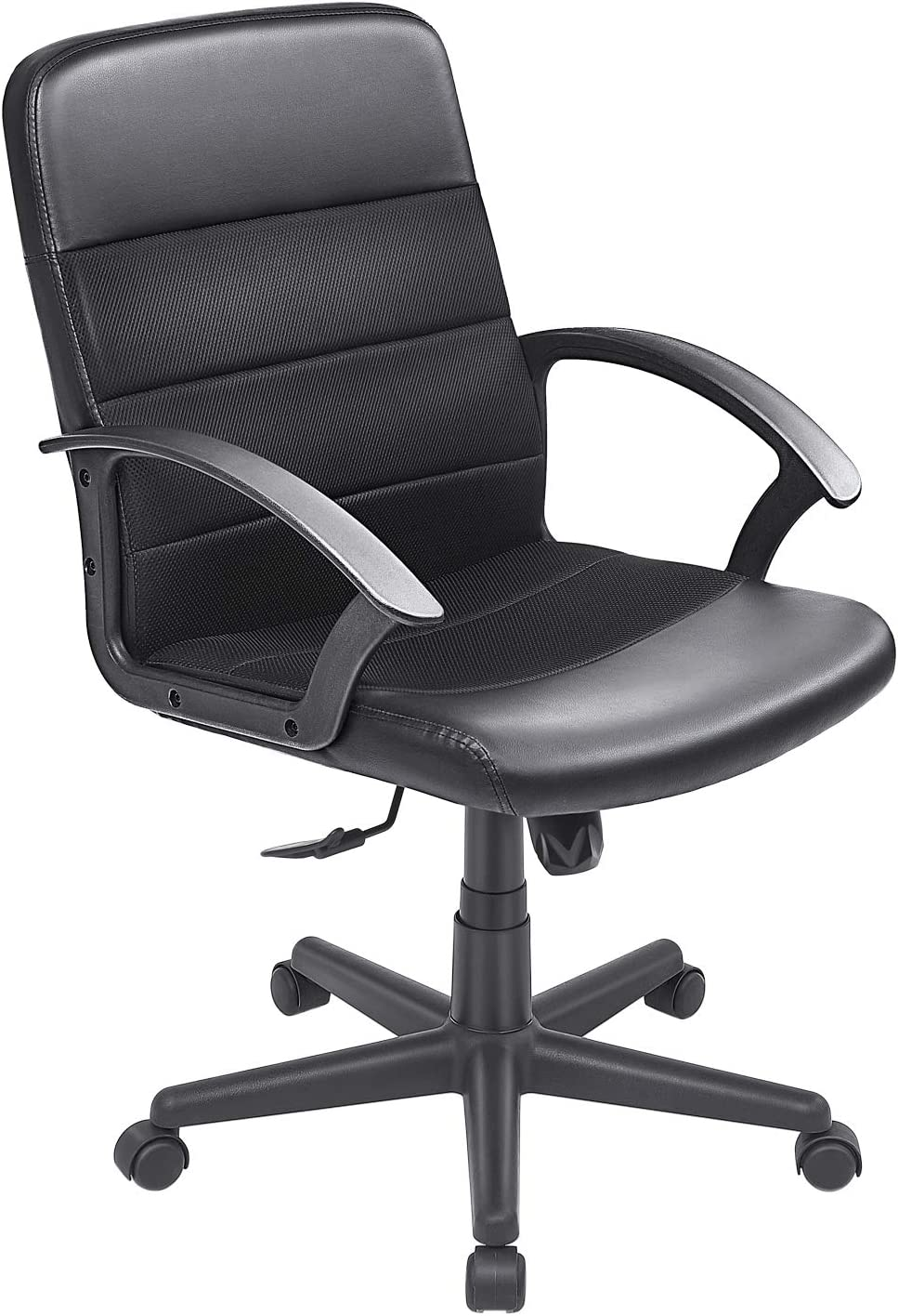 Bowthy Executive Office Chair Computer Task Desk Chair 360 Swivel Chair with Arms Mid Back Chair Mesh Leather Chair (Black)