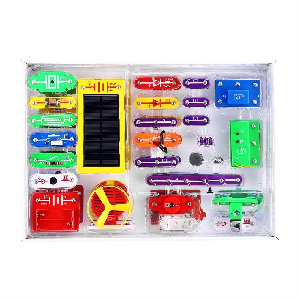 YKS Electronics Discovery Kit,Solar Electronics Block Kit,Educational Science Kit Toy,Great Christmas Gift for Children Learning Education Science.