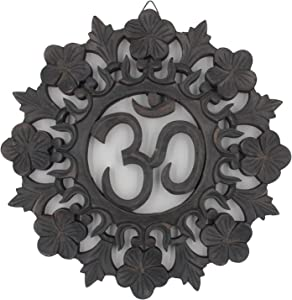 DharmaObjects Handcrafted Wooden Om Wall Decor Hanging Art