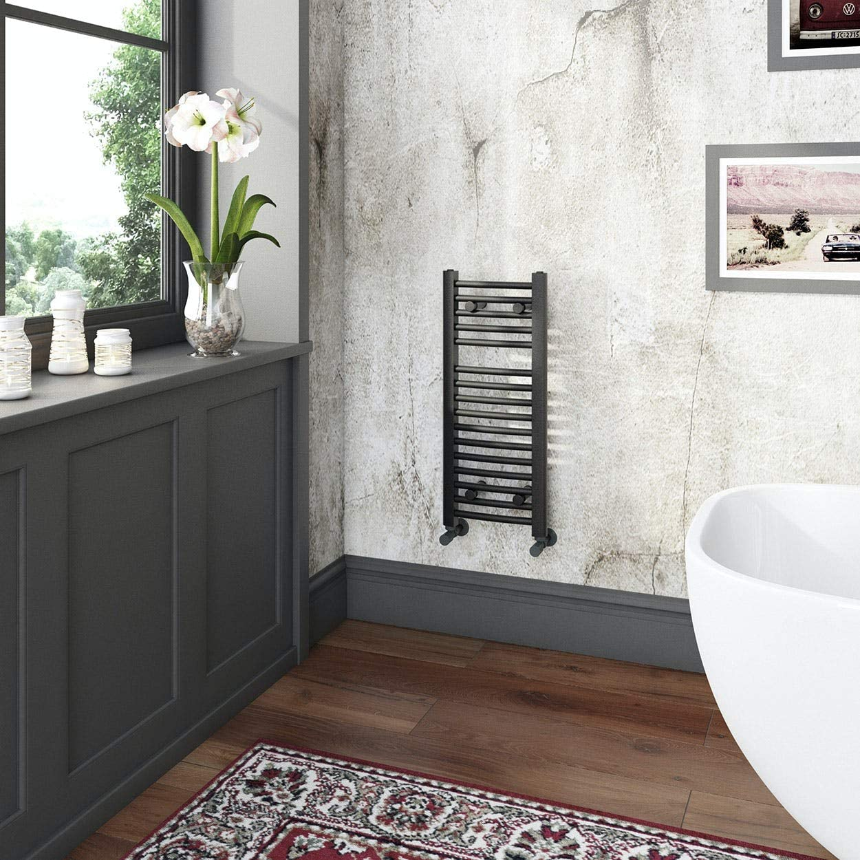 Nassau Anthracite Grey Curved Heated Towel Rail 1150 x 600 The Heating Co