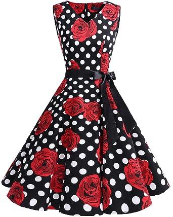bridesmay Damen Vintage 1950er Rockabilly Ärmellos Retro ...