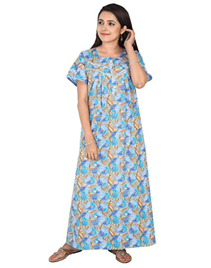 c73c69ac84c Nighty House Womens Cotton Full Length Nightgown with Double Stitches and  overlock (XL