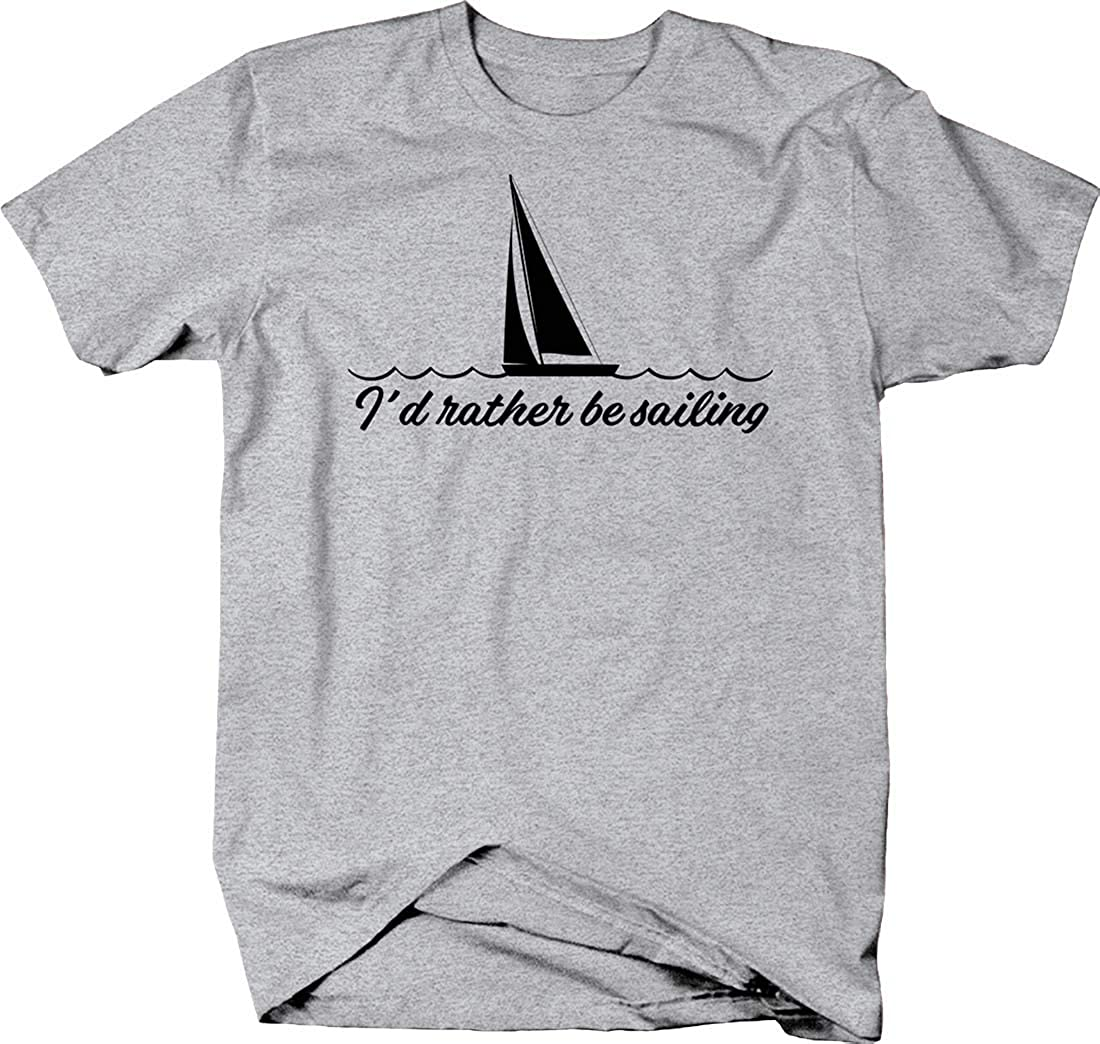 I'd Rather be Sailing Cursive Sailboat Silhouette Water Travel Tshirt