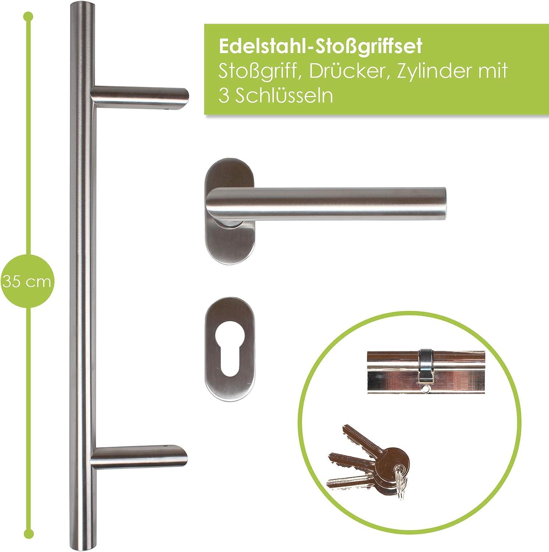 kuporta Kunststoff Haust/ür Carbo 88 x 200 cm DIN links wei/ß mit Dr/ücker-Set und Montage-Set