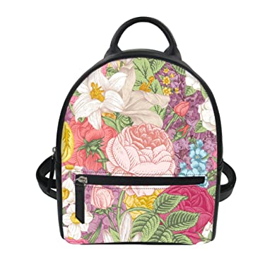 211bfef222c6 FOR U DESIGNS Travel Backpack for Women Fashion Flower Purse PU Leather Girls  Satchel