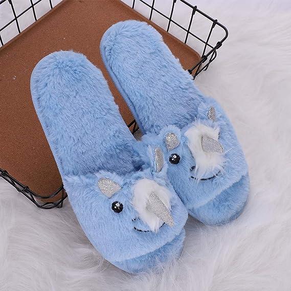 ... Mules invierno otoño Slippers de peluche transpirable zapatos caliente para viaje Oficina Regalo de Navidad, peluche, Licorne, 35-36: Amazon.es: Hogar