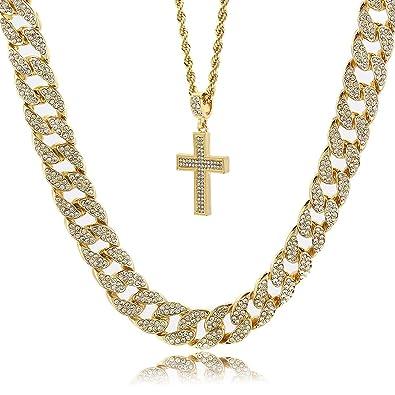 2f63649e21059 Mens 14k Gold Plated G4 Thick Cross Pendant Hip Hop 24