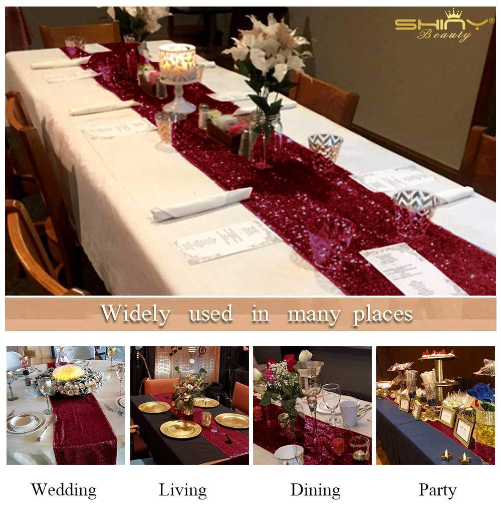 0114E Wedding Decor 12x72-Inch Burgundy Sequin Table Runner Baby Shower Decorations in Rose Gold Table Runner for Party