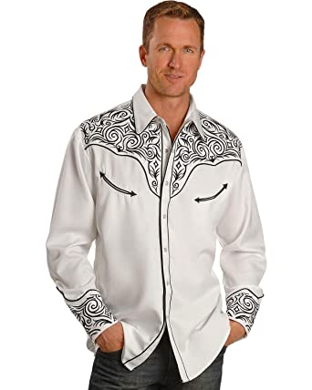 fdb7d5fa Scully Men's Fancy Full Stitched Retro Western Shirt Big and Tall White 3X