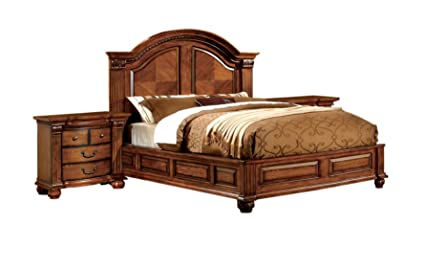 Furniture of America Lannister 3-Piece Elegant Bedroom Set with 2  Nightstands, Queen, Antique Tobacco Oak Finish