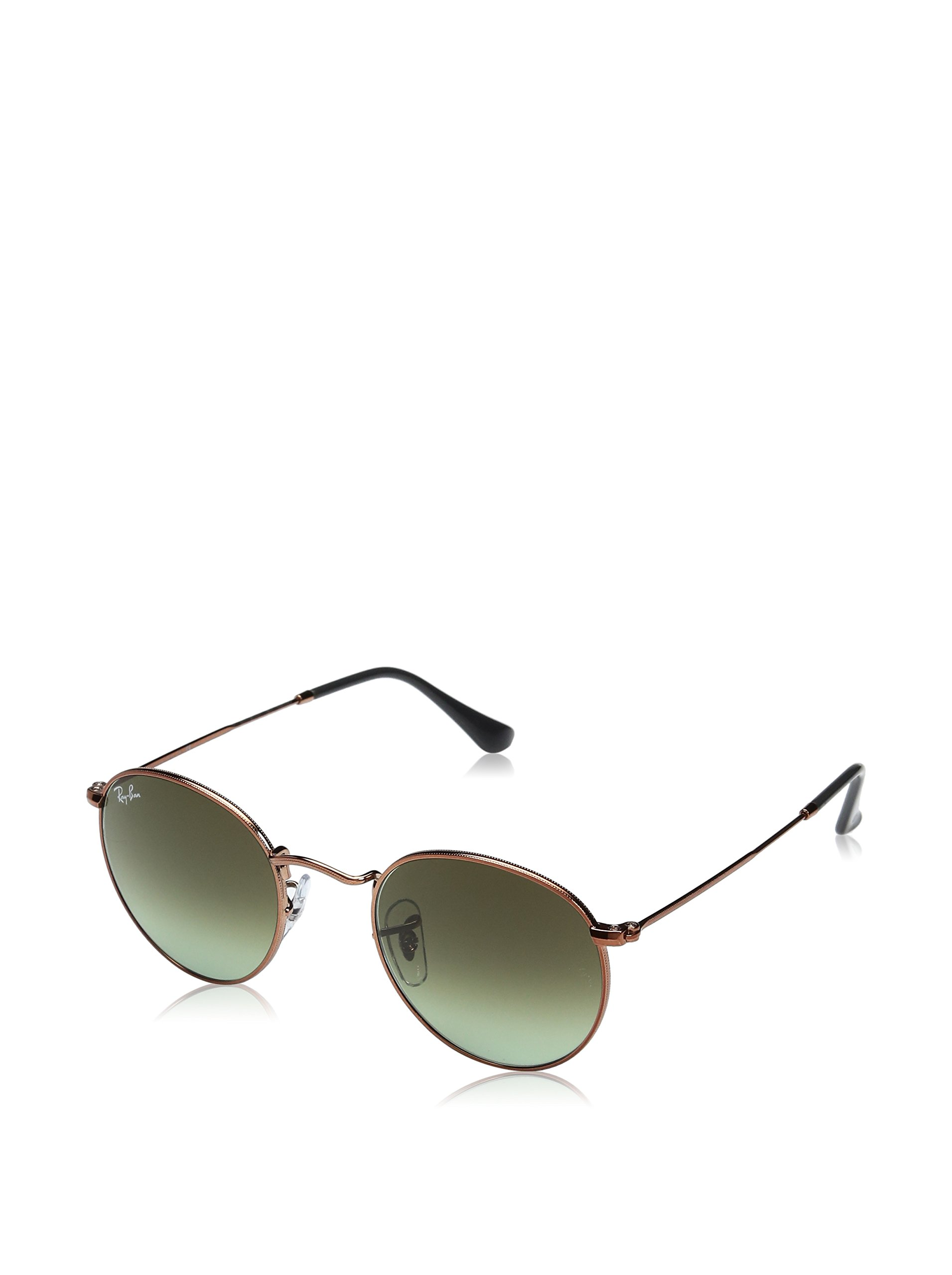 Ray-Ban RB3447 9002A6 Non-Polarized Round Sunglasses, Shiny Medium Bronze/Green Gradient Brown, 47 mm