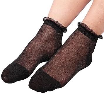 YoungerY Ultrafino Transparente Calcetines de Encaje de Seda Brillante Calcetines Cortos Suaves Calcetería Elástica Negro: Amazon.es: Hogar