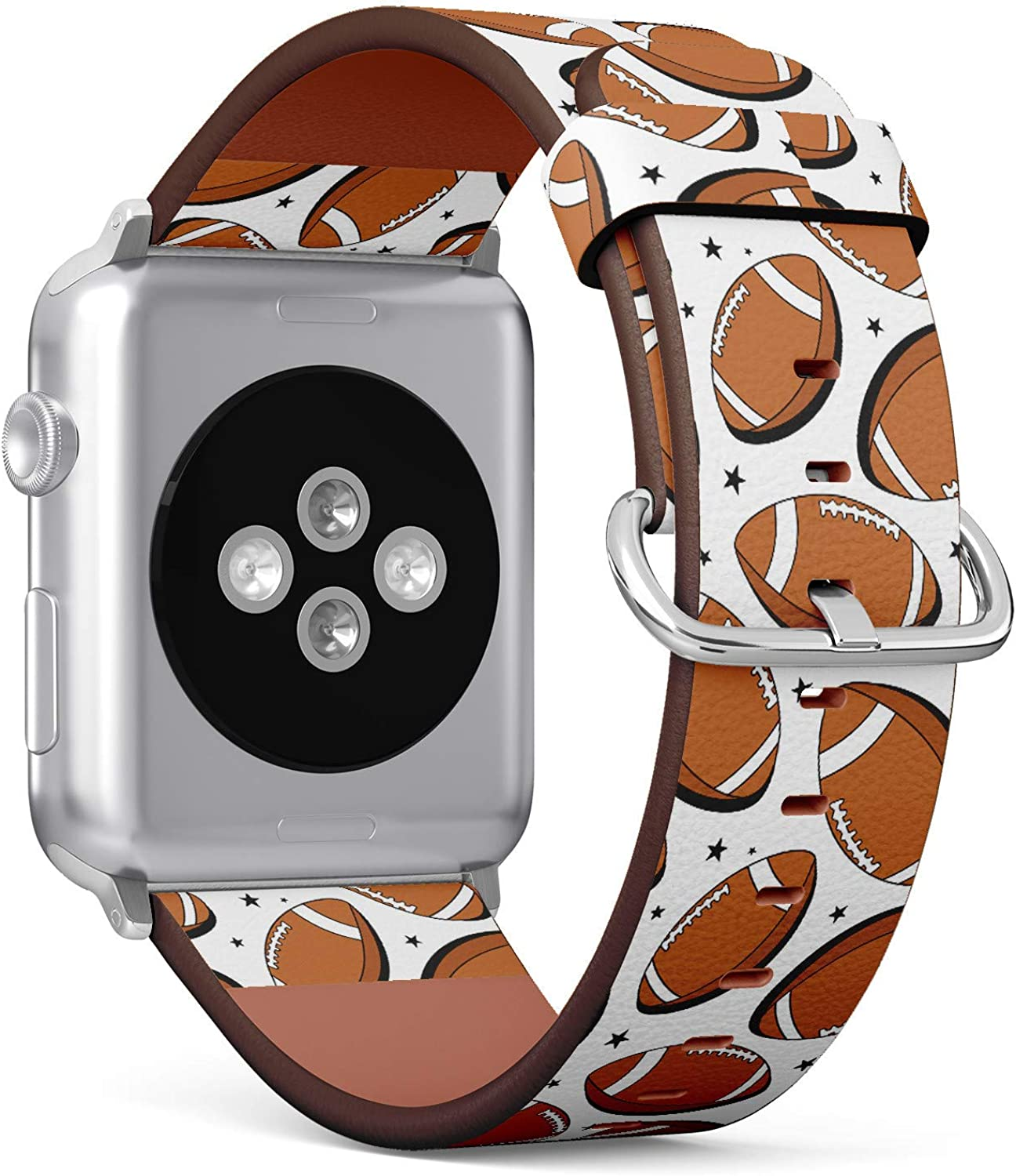 American Football and Stars Pattern - Patterned Leather Wristband Strap Compatible with Apple Watch Series 4/3/2/1 38mm/40mm