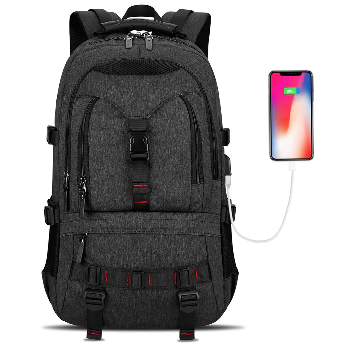 Laptop Backpack, Tocode Travel Backpack Contains Multi-Function Pockets,Stylish Anti-Theft School Bag with USB Charging Port Fits 17.3 Inch Laptop Comfort Pack for Men & Women –Black Update