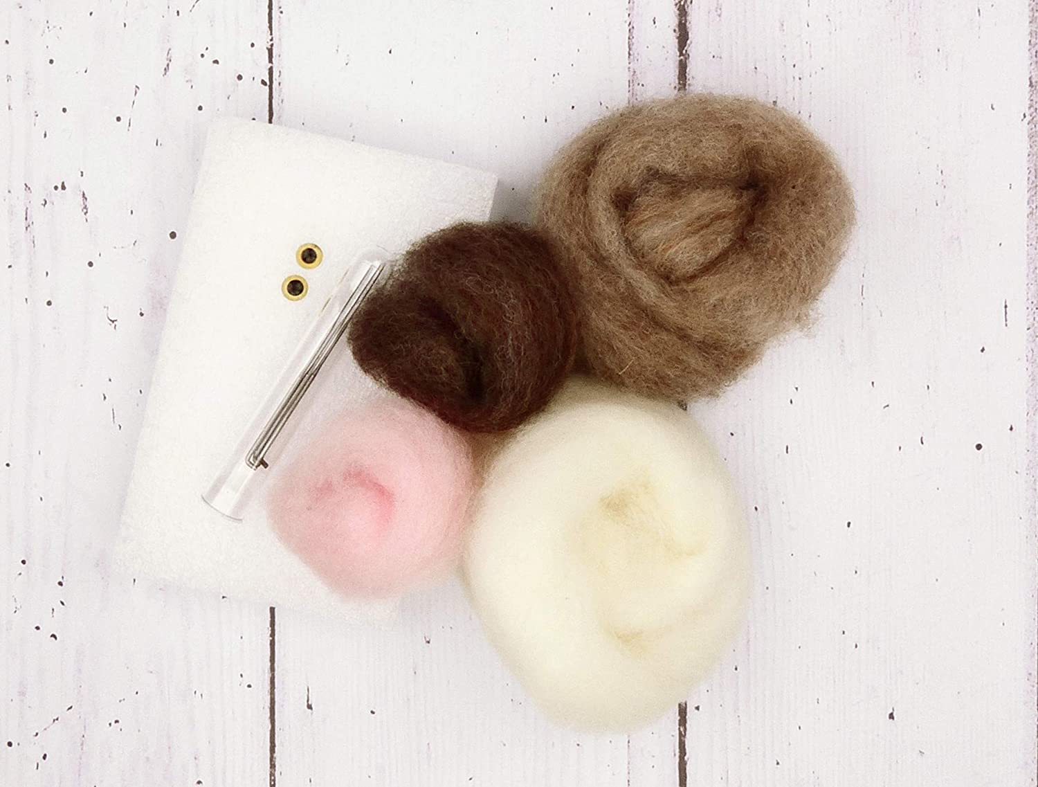 Glass Eyes and Clear Colour Instructions Felting Needles Pipe Cleaners The Crafty Kit Company Baby Bunny Needle Felting Kit Containing 100/% British wool High Density Felting Sponge