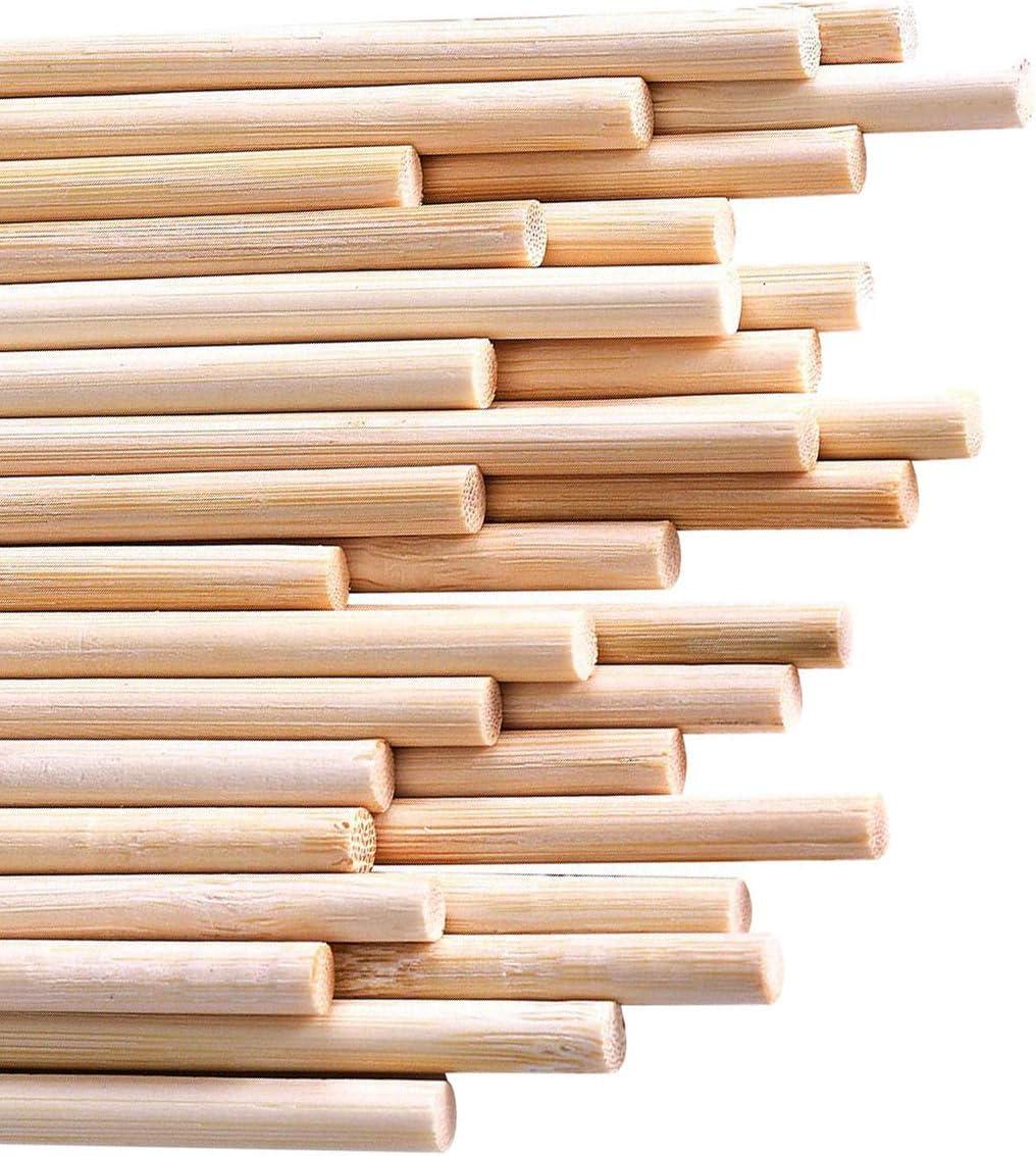 30 unidades, 5 mm de di/ámetro, 20 cm de largo Varillas de madera para manualidades