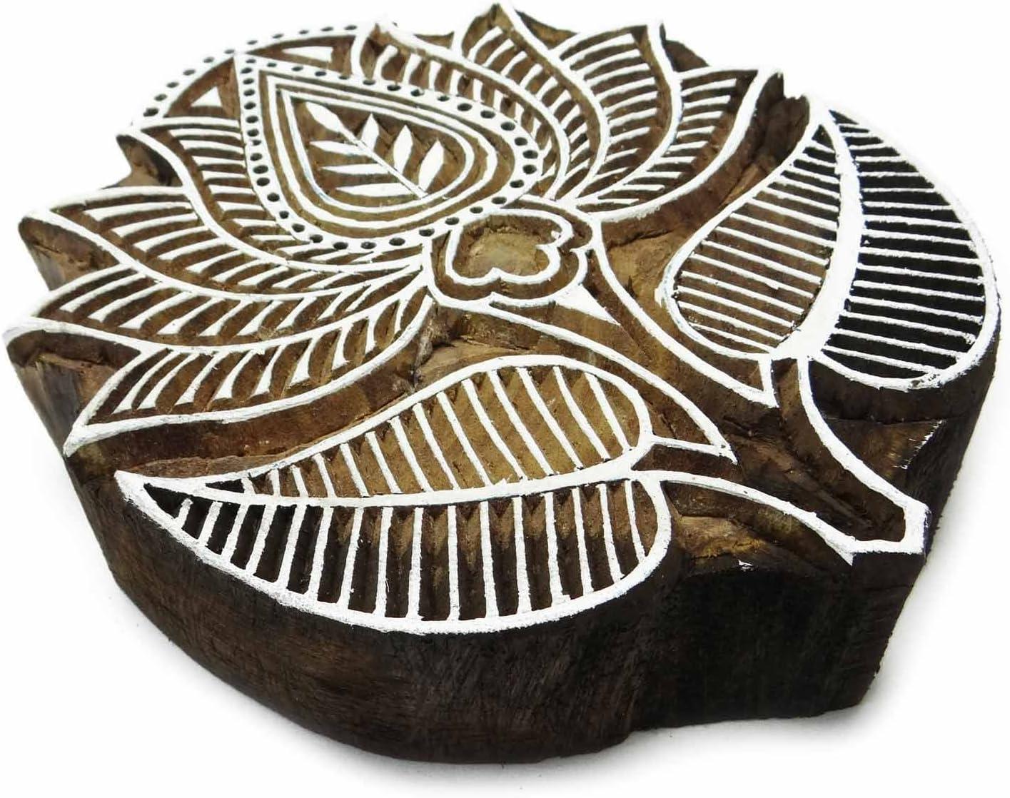 Estampillas De Loto Decorativos Sellos Textiles De Madera Talladas Bloques De Colecci/ón