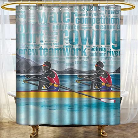 NALAHOMEQQ Sports Decorations Shower Curtain By Canoeing Wild Rivers Rowing Water Gym Outdoor Activities Themed