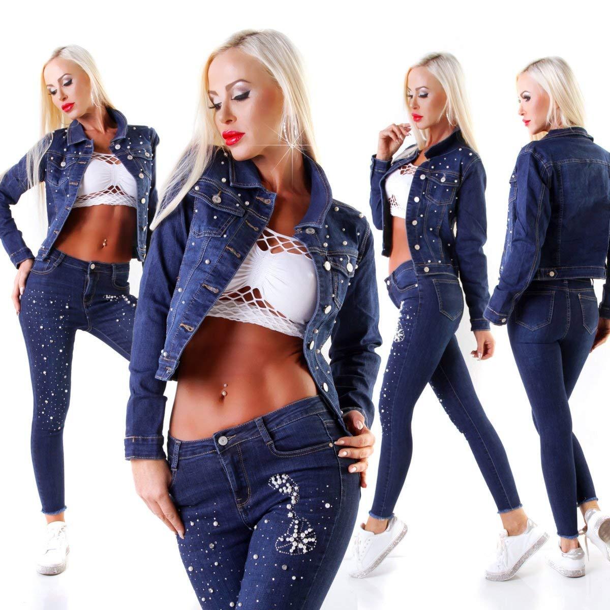 11528 Damen Jeansjacke Jeans Jacke Kurze Jacke Denim Stretch Perlen Applikation