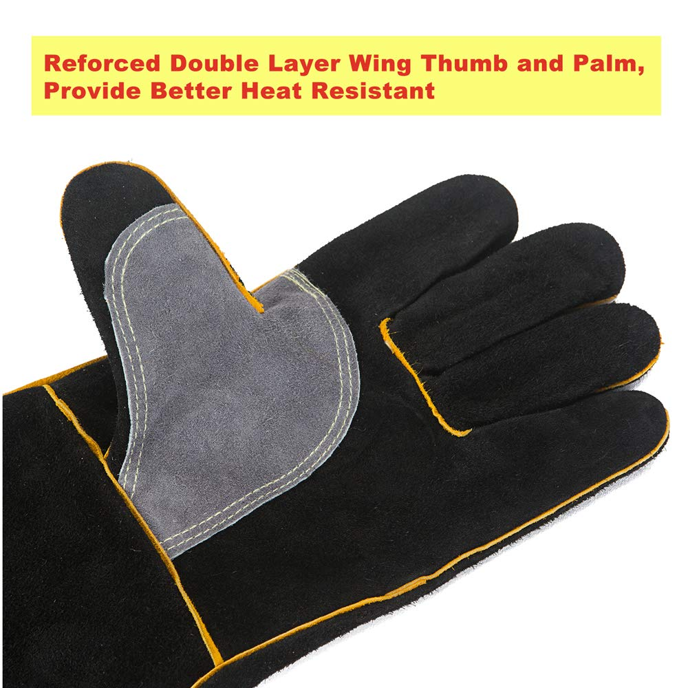 Tig Mig Welding gloves Durable and Heat Resistant for Welding Grill Fireplace and BBQ Quilence