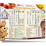 """Best Design Cool Kitchen Conversion Chart Magnet 8.5""""x11"""" 50% More Data Big Text Cooking Recipe Cookbook Baking Accessories Magnetic Metric Measuring Measurement Conversion Guide Gift for Men Women"""