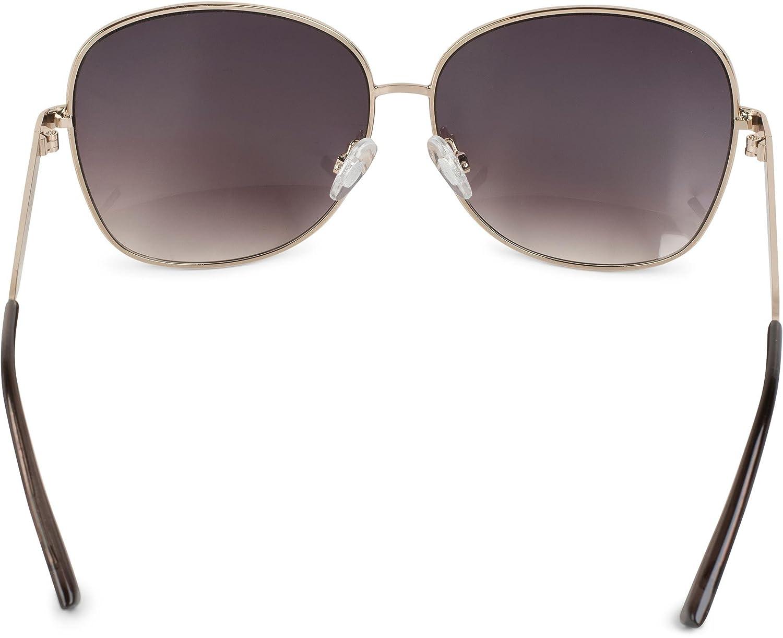 styleBREAKER Sonnenbrille mit ovalen Polycarbonat Gläsern und Vollrand Metallgestell, Damen 09020070, Farbe:Gestell Gold / Glas Grau Verlauf