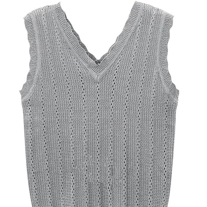 minertech moda mujeres sin mangas sólido tejer T Shirt Chaleco Tank Tops Camisa Blusa, Gris: Amazon.es: Deportes y aire libre