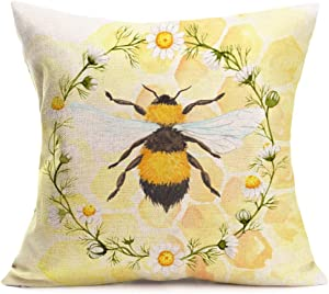 Throw Pillow Covers White Daisy Wreath and Animal Bee Pillow CoversFarmhouse Home Decorative Cotton Linen Cushion Covers for Sofa Couch 18