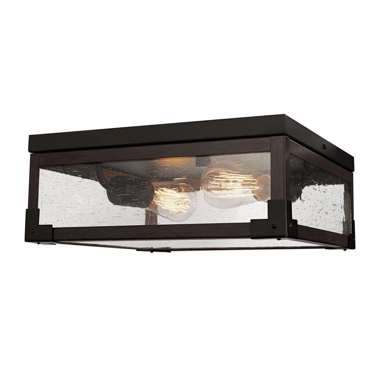 Globe Electric 65917 Williamsburg 2-Light Flush Mount Wood Finish Accents, Seeded Glass Panes, Dark Bronze