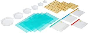 Silicone_Inventions Reusable Silicone Food Storage Bag/ 17 pcs/Beeswax Food Wrap/Food Storage bags/Stretch Lids/Eco-Friendly Sandwich Bags/Reusable Wrap and Covers/Shelf Liner Mat/Food Saver Bag.