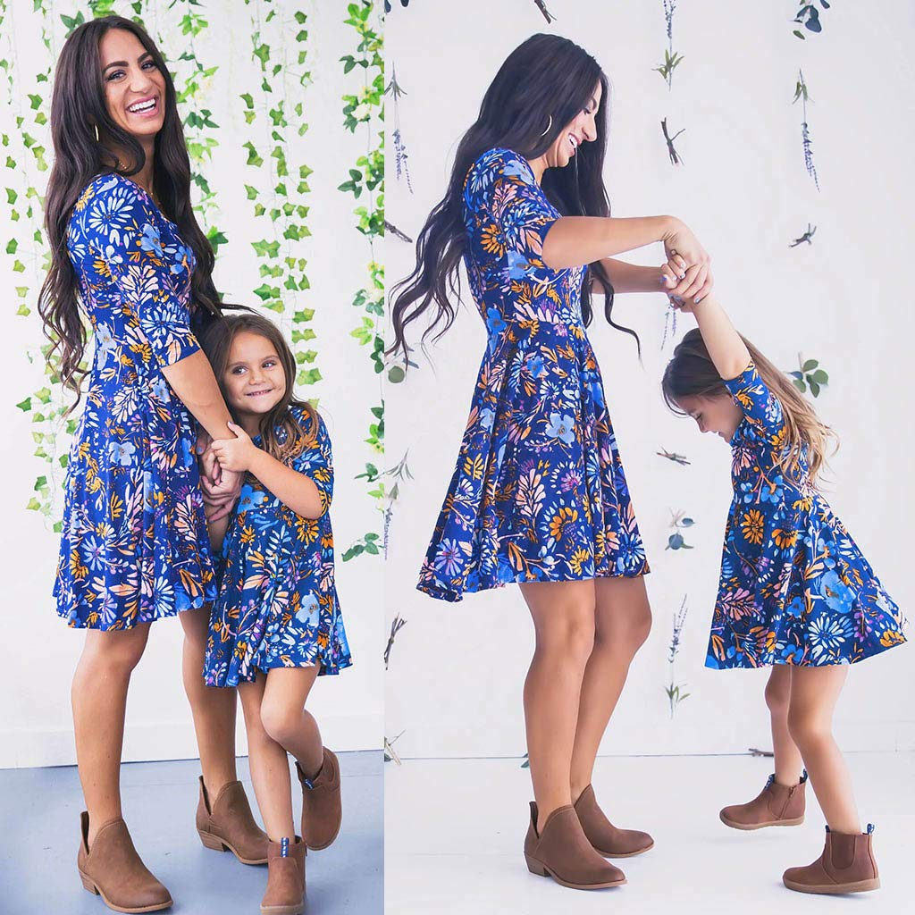 129f9861c9 PLOT❤Family Matching Dresses Half Sleeve Floral Print Dress Family Fashion  Outfits Clothes Clothing  Amazon.co.uk  Clothing