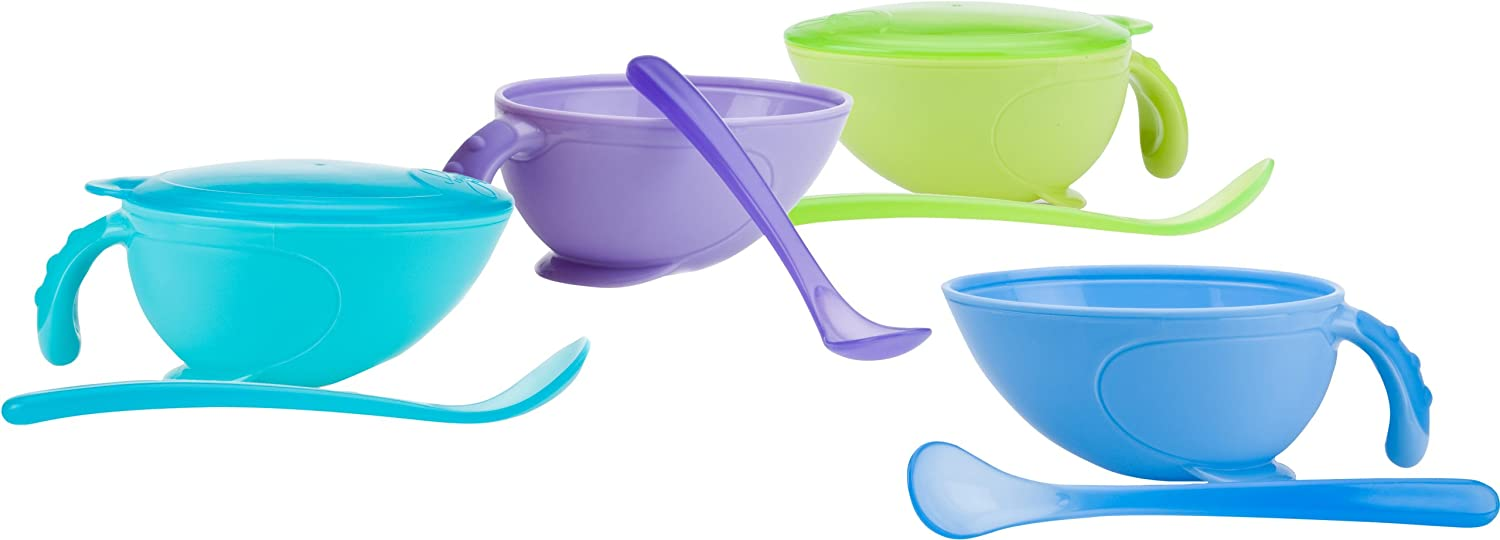 Nuby Non-Skid Comfort Grip Feeding Bowl with Lid Handle and Spoon, Colors May Vary NUBY / UNIQUE LOOK 5413 1078128