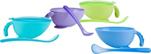 Nuby, Non-Skid Comfort Grip Baby Food Plastic Feeding Bowl with Lid and Spoon, Colors May Vary