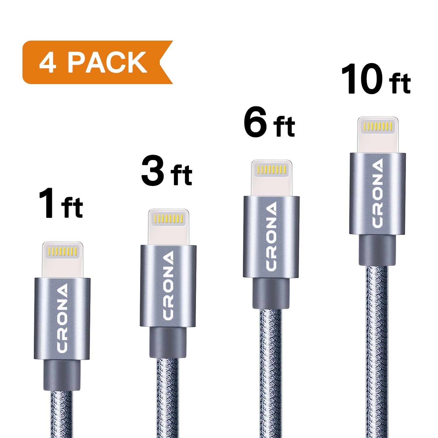 Amazon.com: Lightning Cable, CRONA iPhone Charging Cable 4 Pack (10f ...