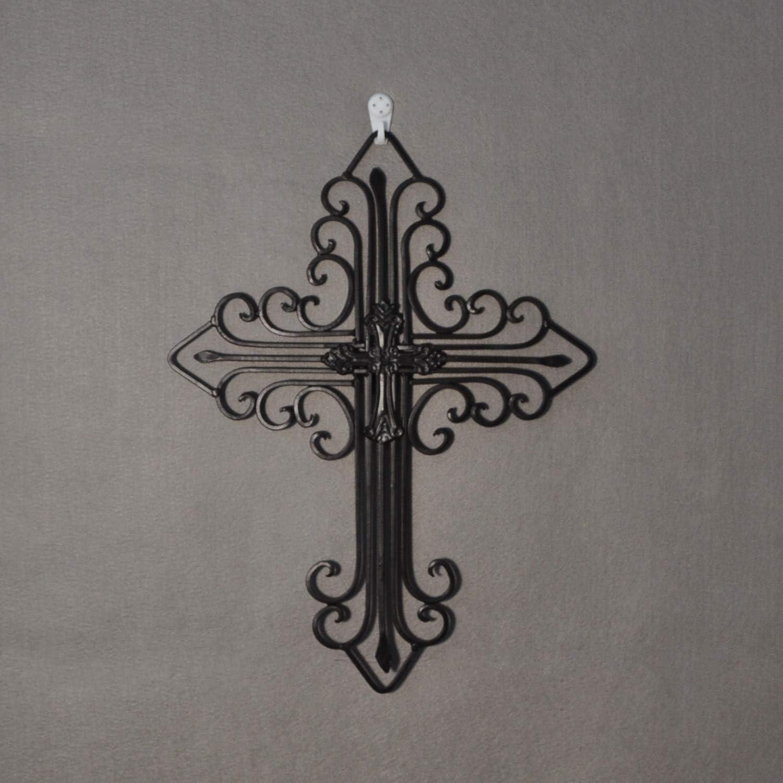 "Yamfurvo Antique Wall Mount Layered Cross, Metal Scrolled Wall Art Wall Sculptures Cross with Hook, Decorative Iron Hanging Cross Home Decor, 14.2"" x 17.3"", Black"