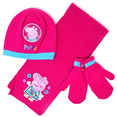 bf3de7d57bf1c Peppa Pig Winter 3pc hat Scarf and Mittens Set (2-6 Years