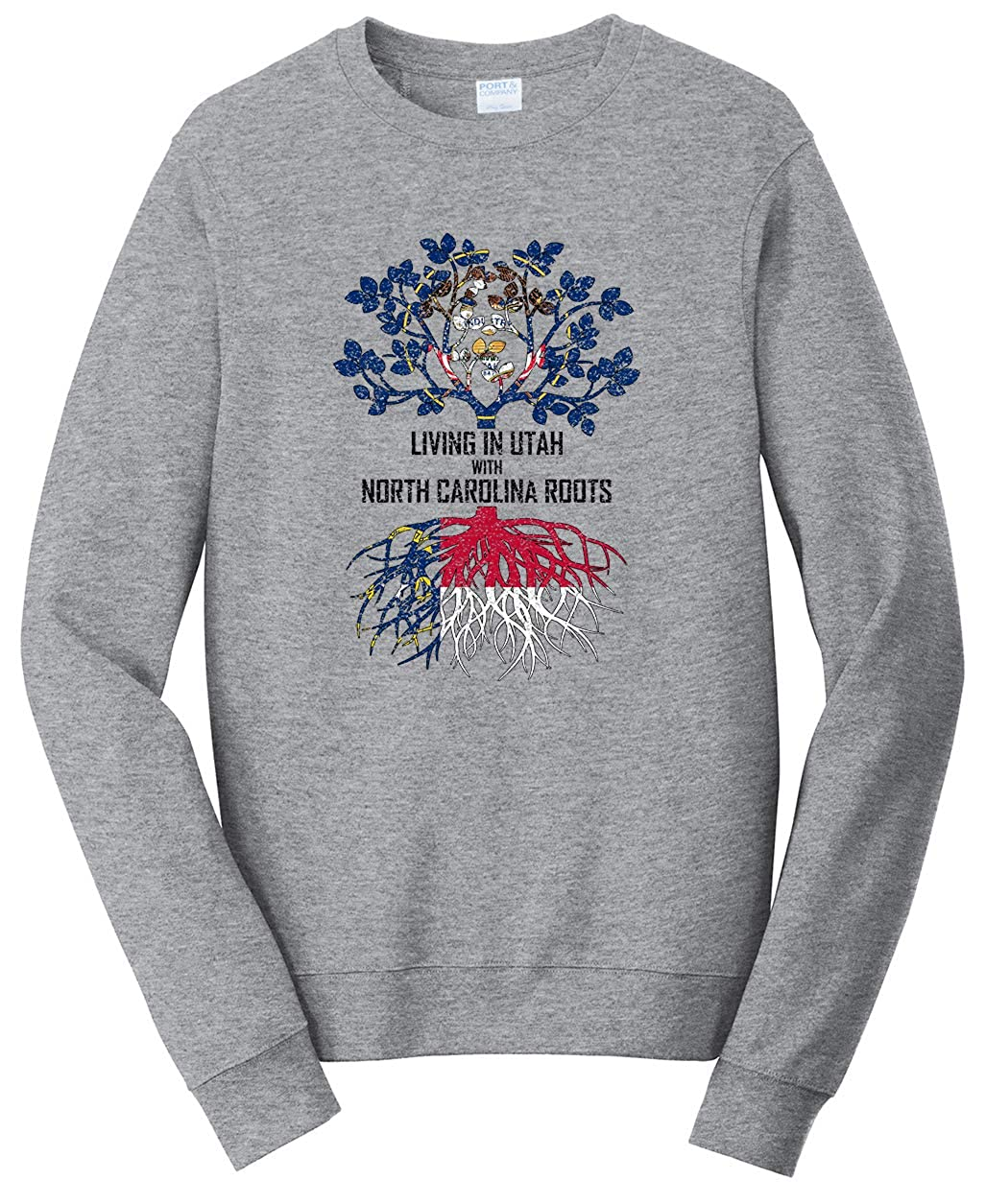 Tenacitee Unisex Living in Utah North Carolina Roots Sweatshirt