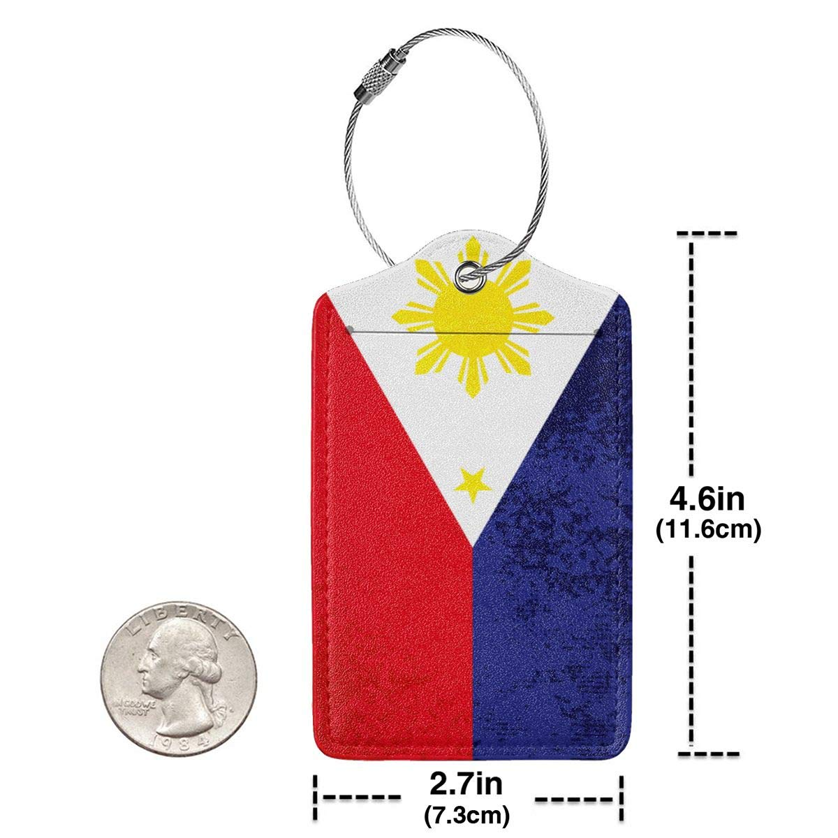 GoldK Filipino Flag Leather Luggage Tags Baggage Bag Instrument Tag Travel Labels Accessories with Privacy Cover