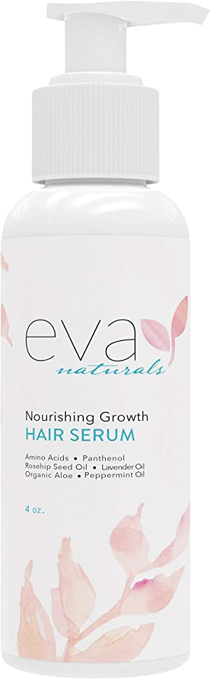 Nourishing Growth Hair Serum – All Natural Leave-In Hair Thickener for Curly, Straight, Frizzy, Brittle, and Thinning Hair with Amino Acids, Panthenol, and Rosehip Seed Oil by Eva Naturals, 4 oz.